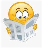 Reading newspaper cartoon image