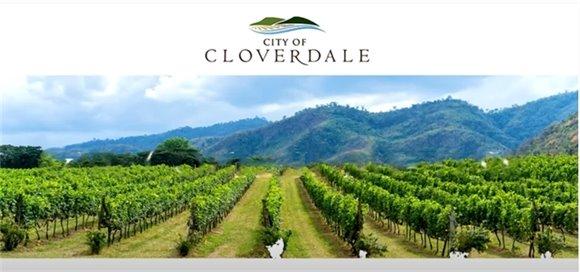 City of Cloverdale Logo over a vineyard