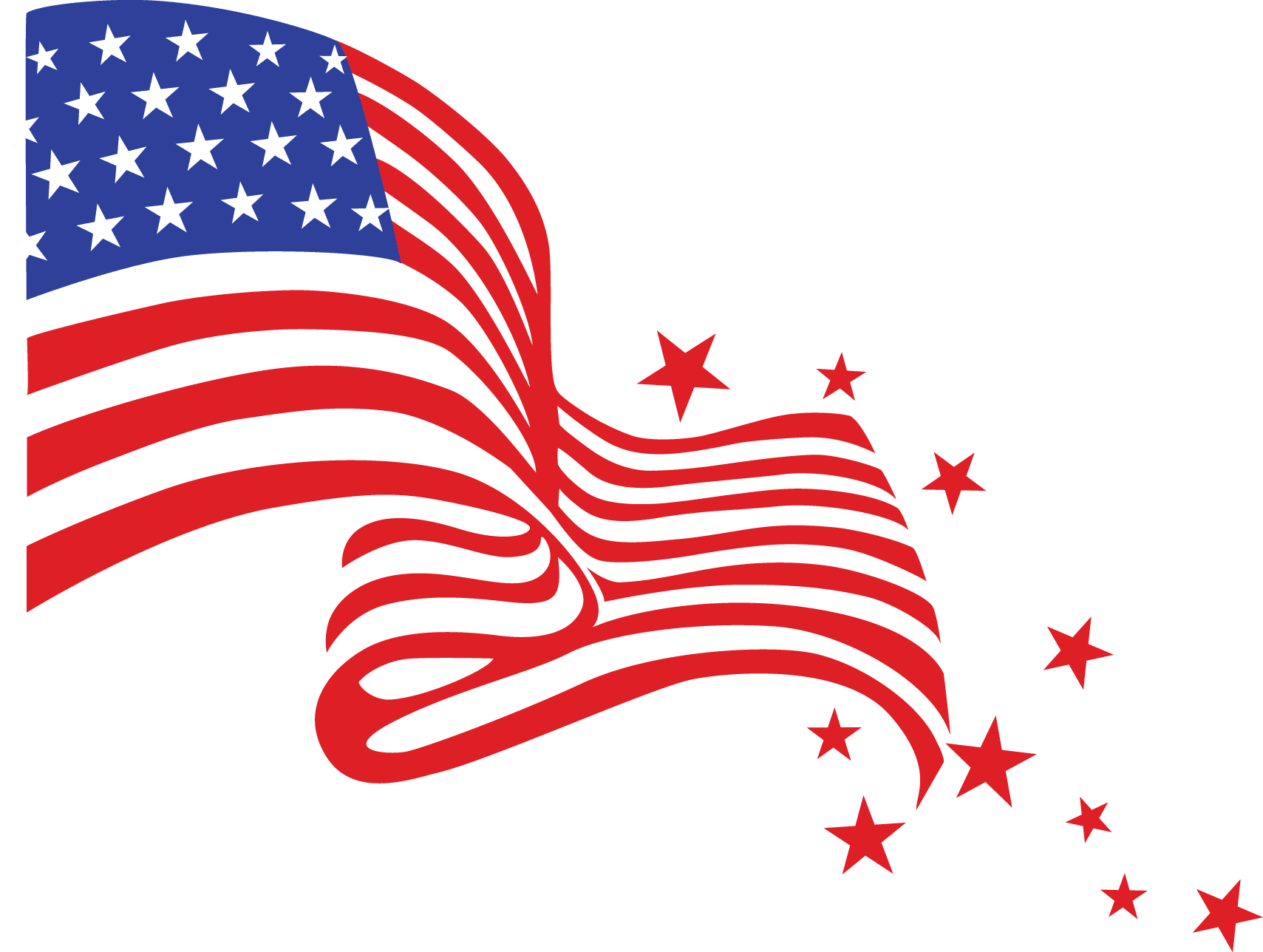 American Flag Highlighted with stars